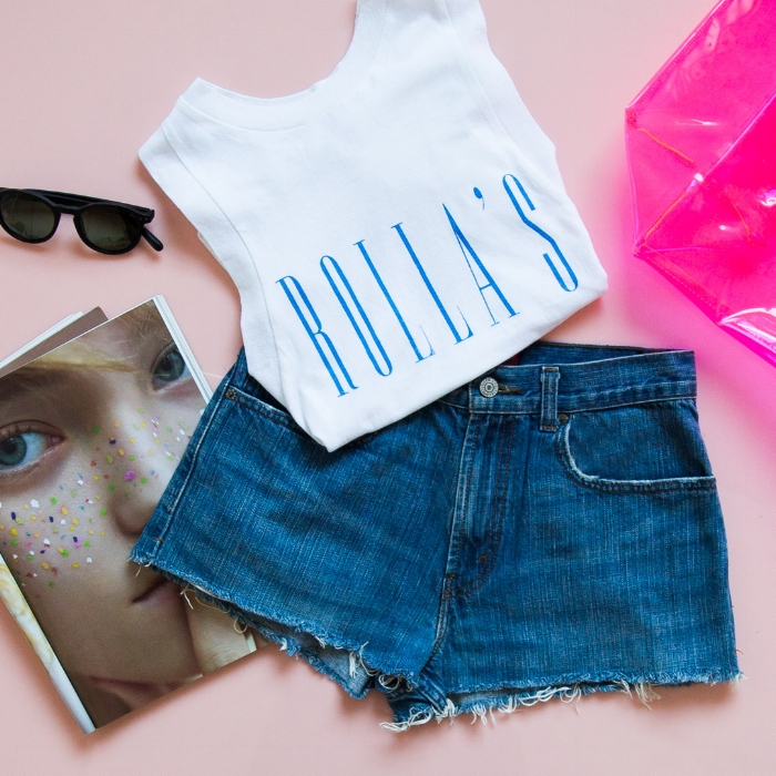 Linen Logo Tank - White, Market Bag - Neon Pink, Station Polarized Sunglasses - Black Matte, Vintage Denim Cut-Off Shorts - Levis 569 (W28) - Dark Wash Denim. .jpg