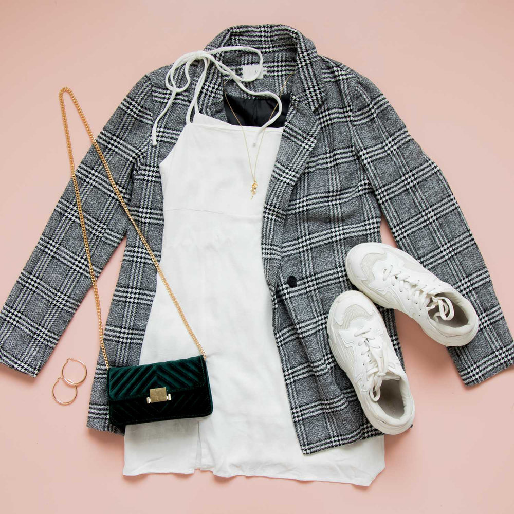 Jordana Dress - white, Germaine Blazer (in some), mutha sneakers - white, norjus bag, sonia rose necklace, urbain gold hoop earrings (2).jpg