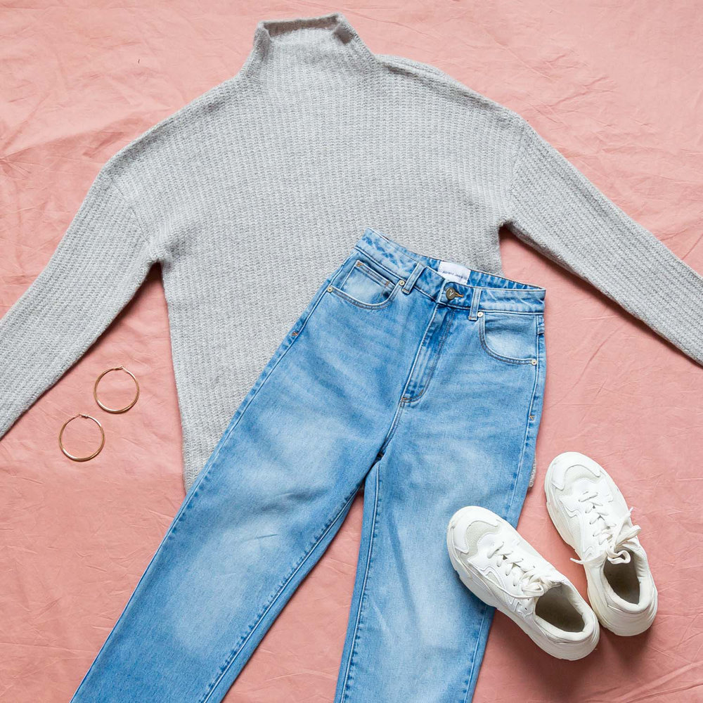 Lets Snuggle Sweater, A Venice Straight Jeans - alicia, mutha sneakers - white, urbain gold hoop earrings.jpg