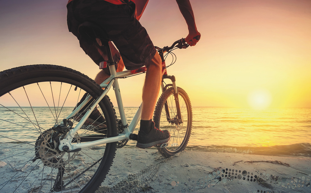 cycling-beach-sunset