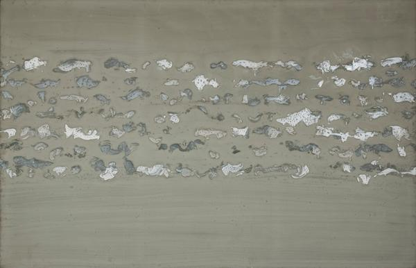 Judit Reigl.  Unfolding   , 1979, mixed media on canvas, 76 1/2 x 118 inches
