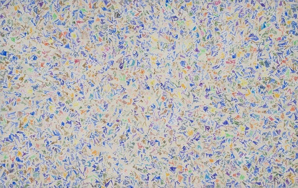 Simon Hantaï (1922-2008). Blanc , 1973, acrylic on canvas, 120 x 180 inches