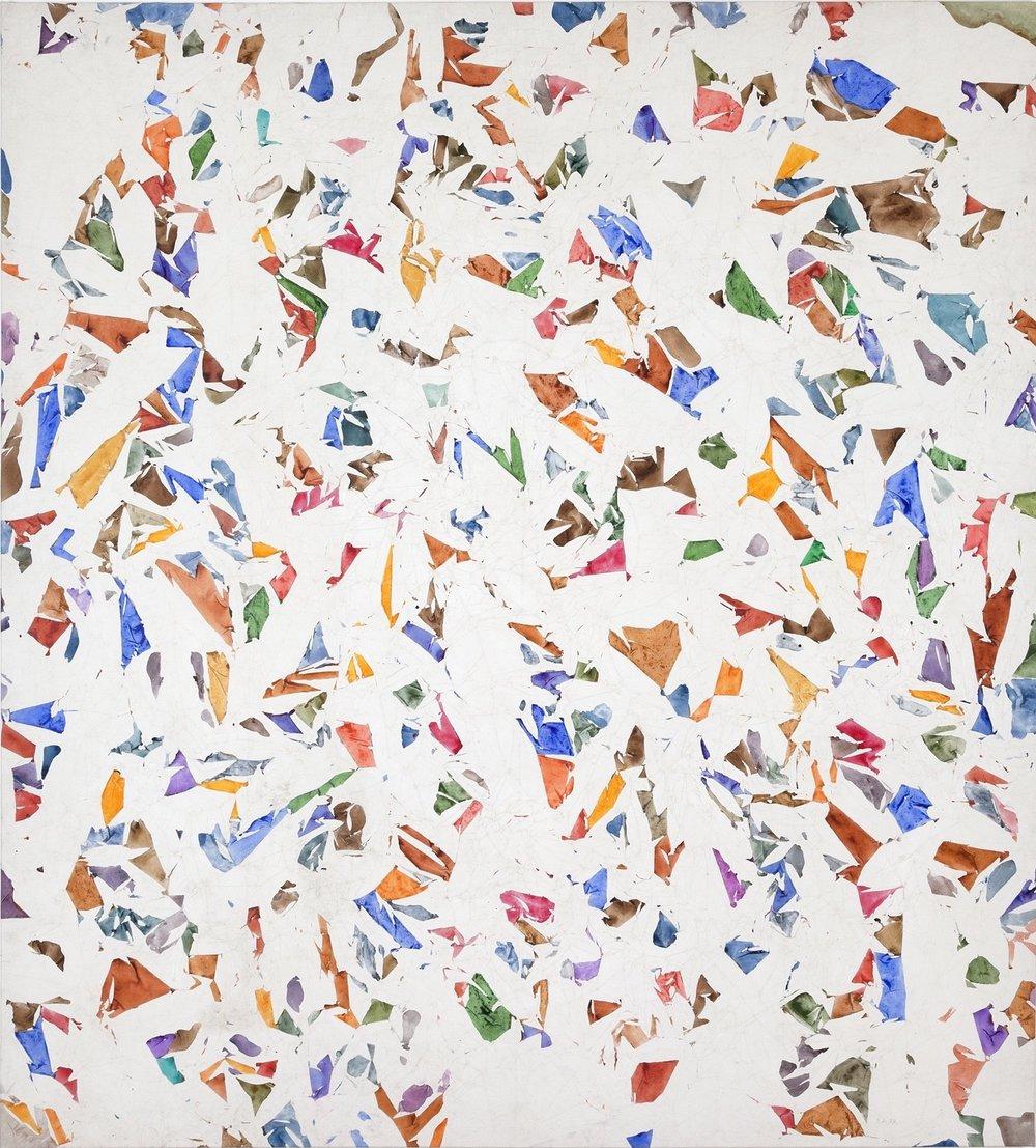 Simon Hantaï(1922-2008). Blanc , 1974, acrylic on canvas, 99.5 x 94.5 inches