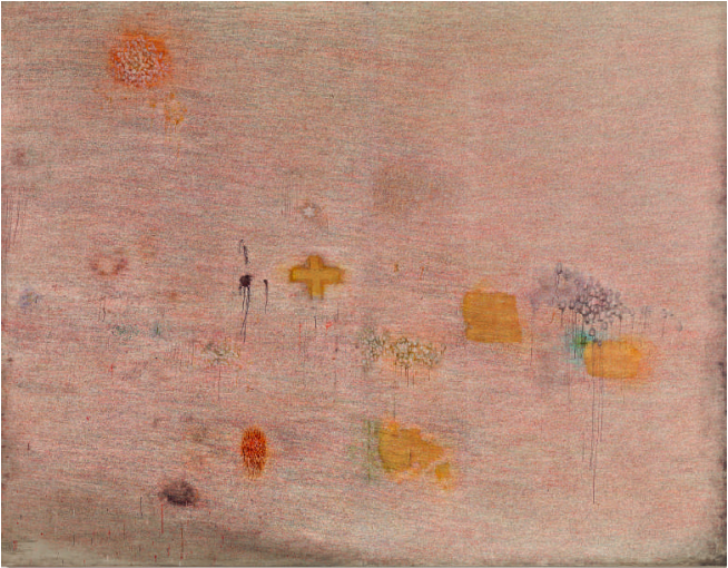 Simon Hantaï (1922–2008). Peinture (Écriture rose) (Painting [Rose Writing]), 1958–59. Ink and gold leaf on linen (two sewed pieces), 129%¾ × 167⅛ in. (329.5 × 424.5 cm). Musée national d'art moderne, Centre Georges Pompidou, Paris. Gift of the artist, 1985