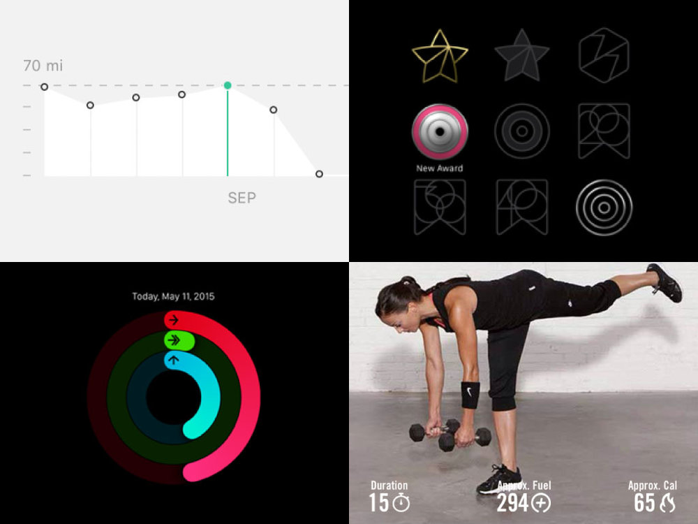 Images from Strava, Apple Activity and Nike Training Club