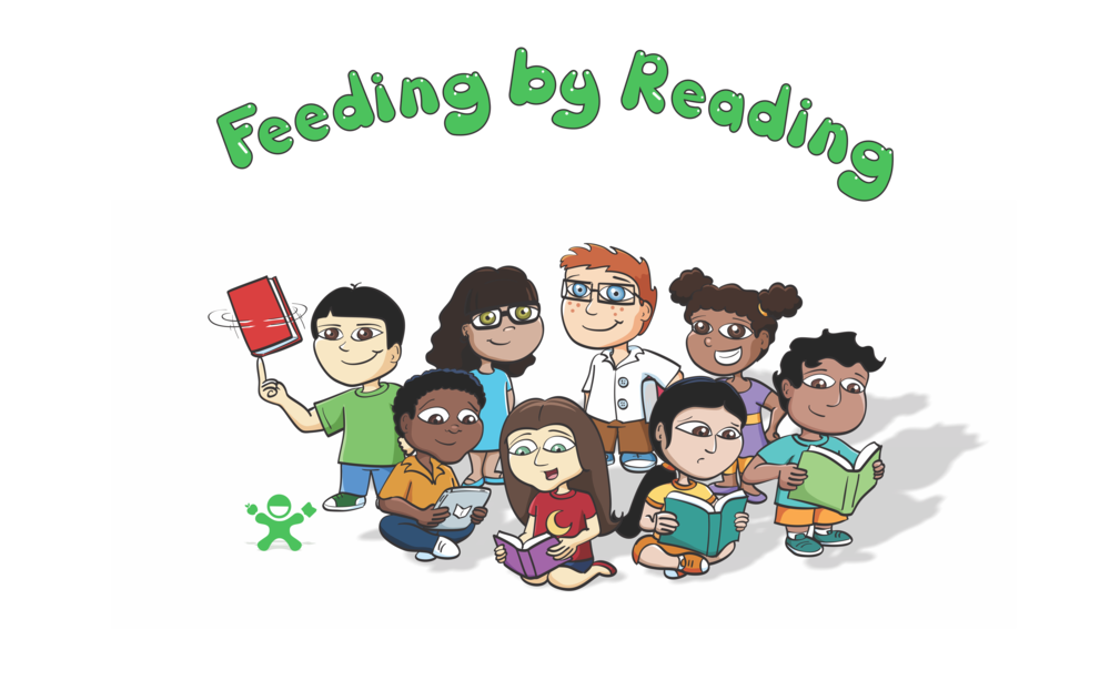 Feeding by Reading charity reading program for children fight hunger reading based community service kids Program read books group