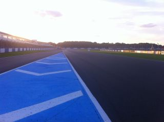 Approach to Redgate corner at Donington Park