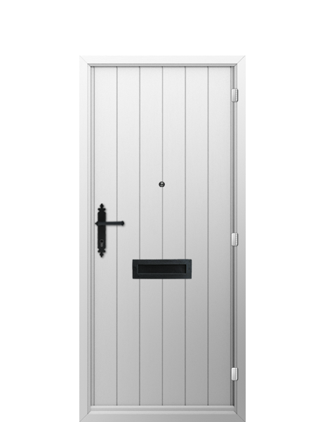INTERIOR: 'Flint' -smooth white, matching frame, panelled effect door, black hammered finish handle, letterplate and spyglass.
