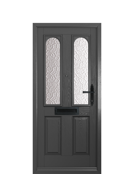EXTERIOR: 'Nottingham' - shown in grey, a traditional four panelled design with matching frame and obscured glazing.