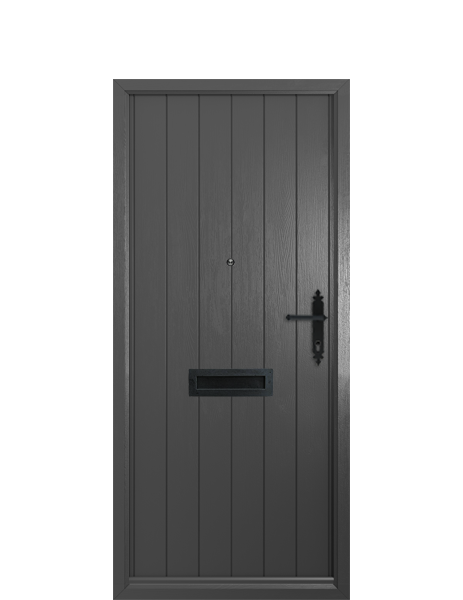 EXTERIOR: 'Flint' - shown in grey, with matching frame, panelled woodgrain door, black hammered finish handle, letterplate and spyglass.