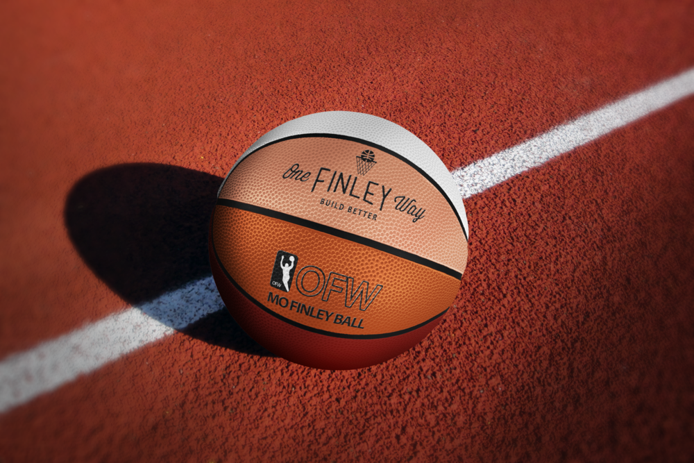 Customized basketballs.