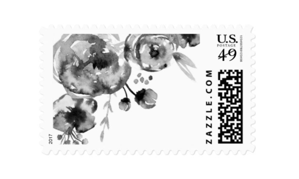 Saffron Avenue Black Floral Postage Stamp