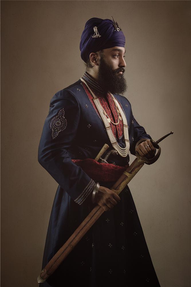 1. Sikh Warrior Groom Portrait Kalgi Singh Nihang Amrit Dhari .jpg