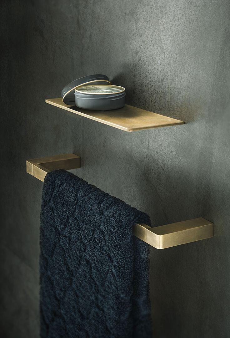 Eon Hand Towel Rail  and  Shelf  in Burnished Brass.