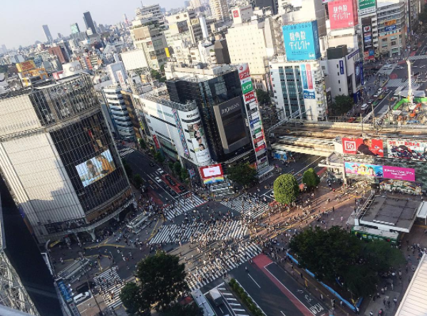 Birds Eye View of Shibuya Station Crossing