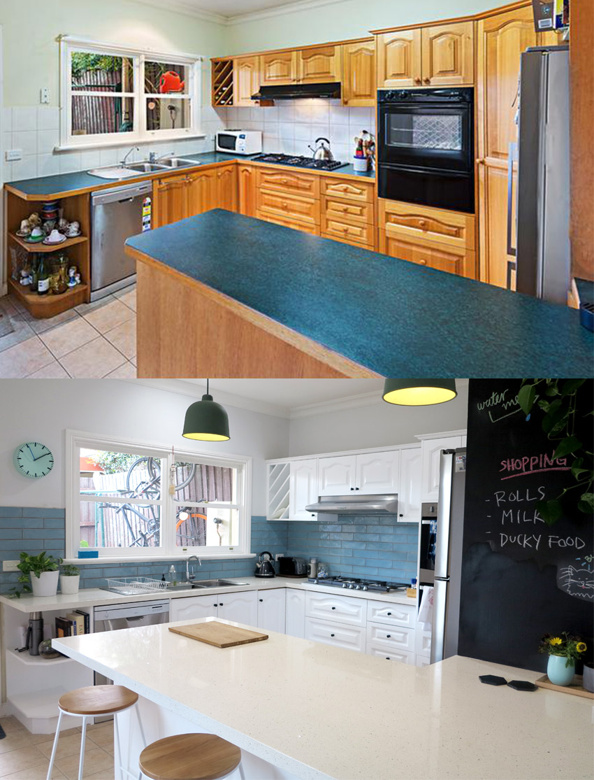 Before and after shot of our budget kitchen renovation