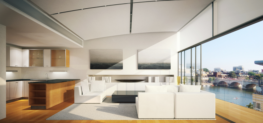 Prposed Interior Redesign Of Penthouse Apartment 34 At Marina PLace With  Views Over KIngston Bridge.