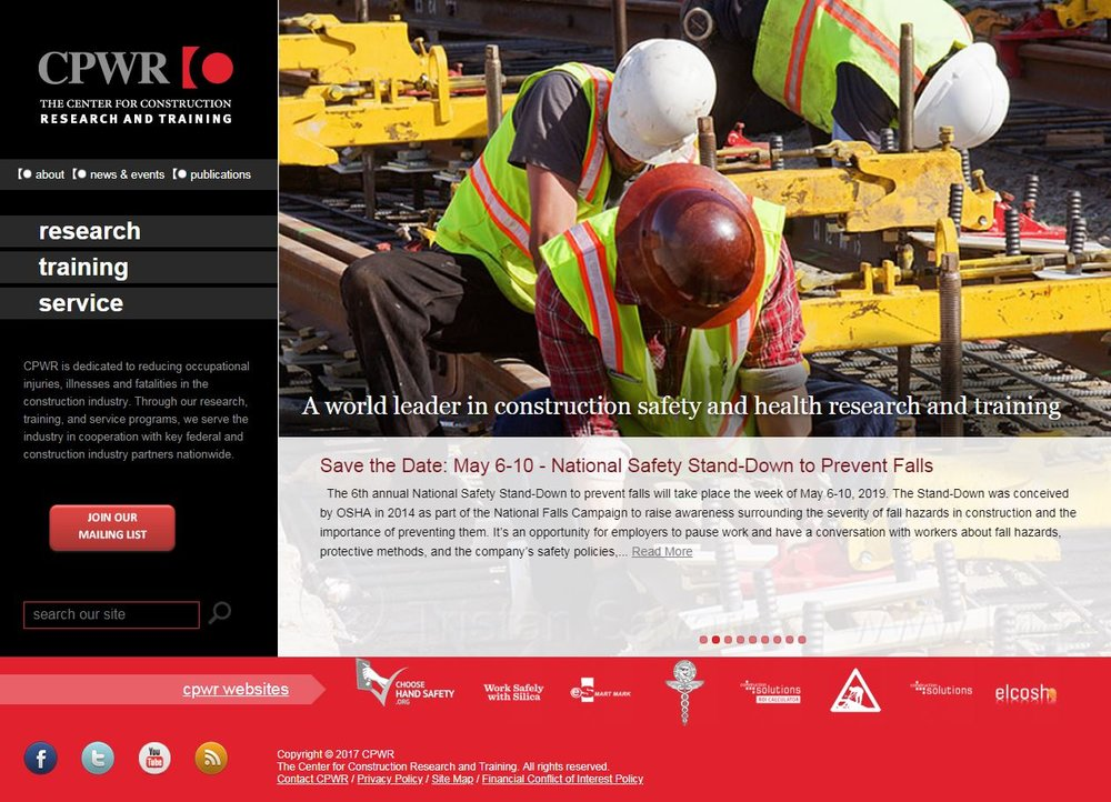 CPWR is dedicated to reducing occupational injuries, illnesses and fatalities in the construction industry. Through our research, training, and service programs, we serve the industry in cooperation with key federal and construction industry partners nationwide. Visit  www.cpwr.com  for more information