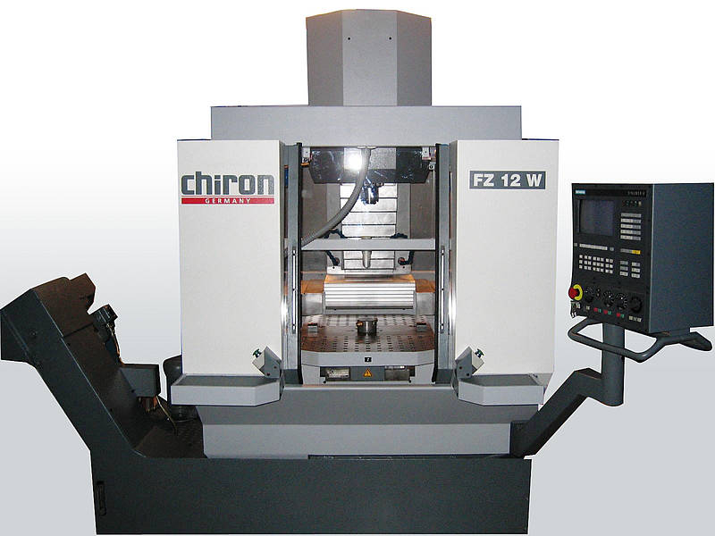 Chiron Machining Center - High Speed Production with a pallet changer. Set up to three Kurt vises on each pallet
