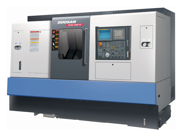 "Doosan PUMA 2000SY - Twin Spindle with live tooling. Main Spindle has 10"" Chuck and collet adapter. Sub Spindle has 6"" chuck with collet adapter and full Y axis. LNS quick load 65-magazine bar feed"
