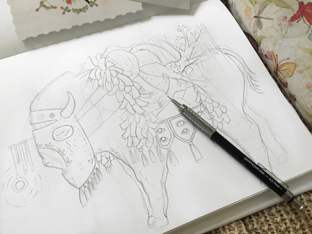 Abyssal beast sketch. In progress illustration