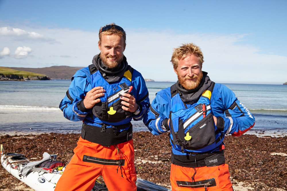George and Olly - in their full ocean crossing kit (Photo credit: Henry Hunt)