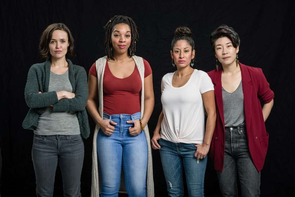 Sara Richardson, Ashawnti Ford, Nora Montañez Patterson & Audrey Park, cast of  She Persists: An All-Woman Take on the Political Divide  at Pillsbury House & Theatre. Photo by Rich Ryan.