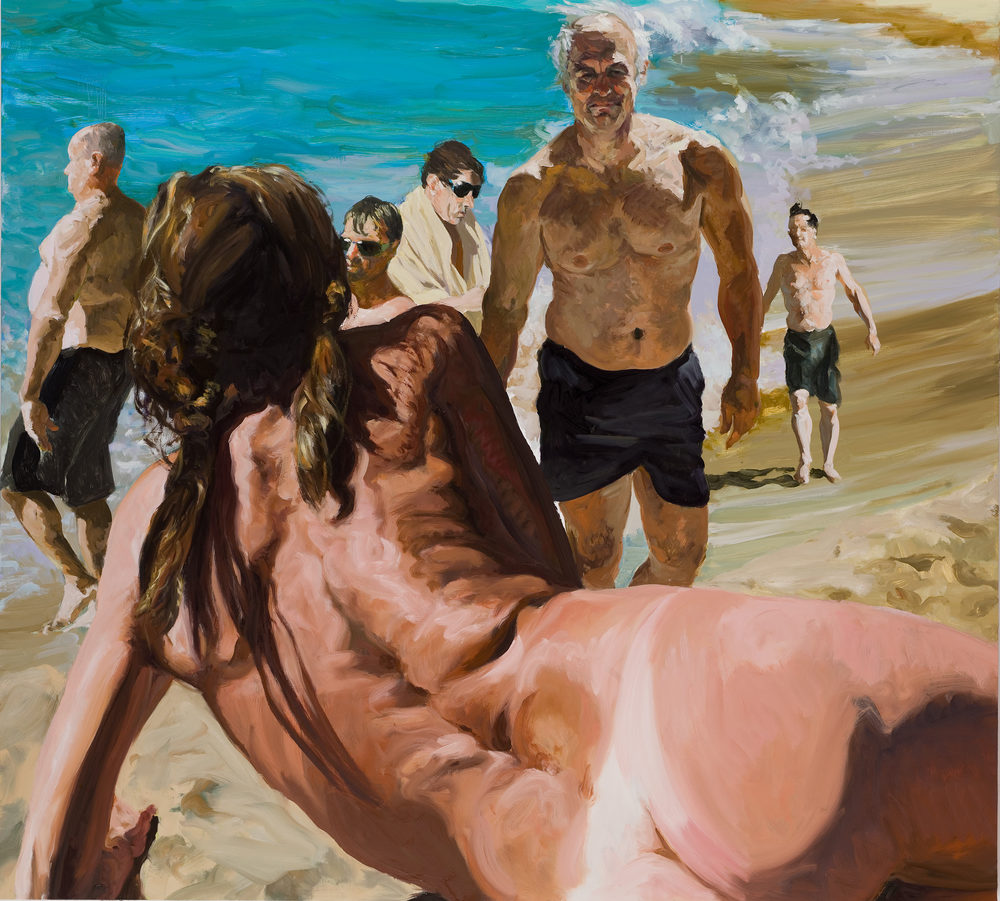 Scenes From Late Paradise: The Welcome, 2007. Oil on linen. 78 x 86 in. (198 x 218 cm.)