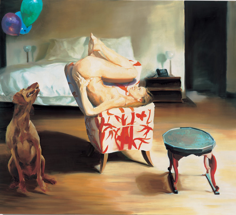 The Bed, The Chair, Waiting , 2000. Oil on linen. 72 x 80 in. (183 x 203 cm.)