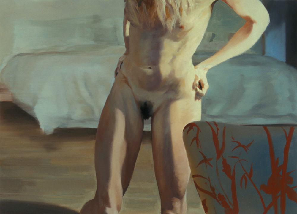 The Bed, The Chair, Turning, 2000. Oil on linen. 78 x 108 in. (198 x 274 cm.)