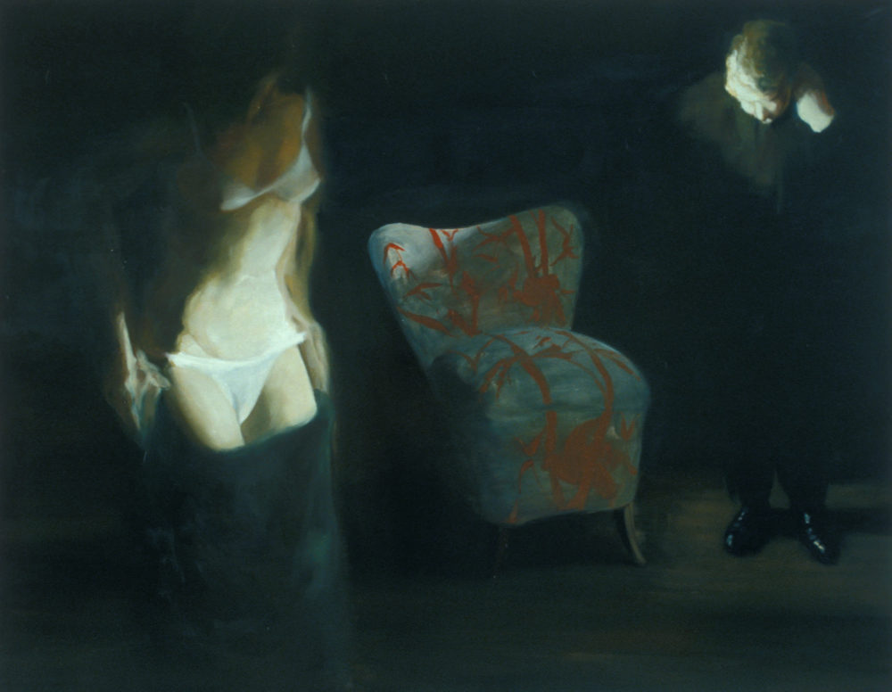 The Bed, The Chair, Head to Foot, 2000. Oil on linen. 79 x 100 1/4 in. (201 x 255 cm.)