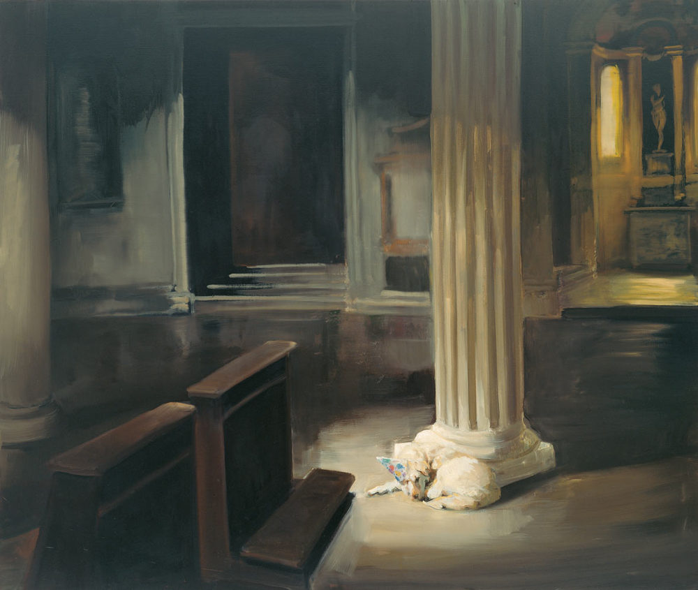 Dog in God House, 1997. Oil on linen. 55 x 65 in. (140 x 165 cm.)
