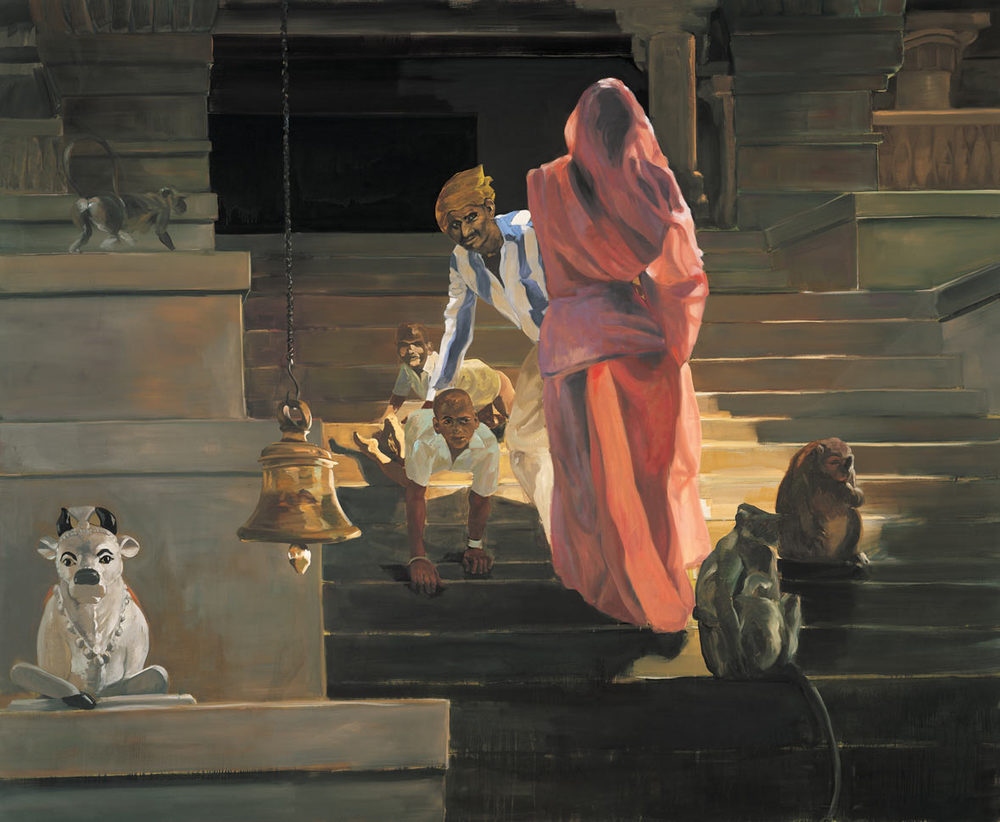 On the Stairs of the Temple, 1989. Oil on linen. 115 x 140 in. (292 x 356 cm.)