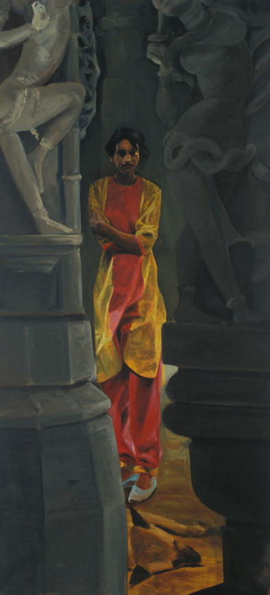 In the Temple, 1989. Oil on linen. 105 x 48 in. (267 x 122 cm.)