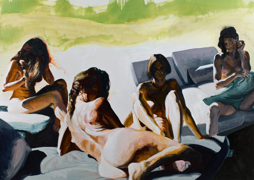 Four Women, 2010. Oil on Linen. 80 x 112 in. (203 x 284 cm.)