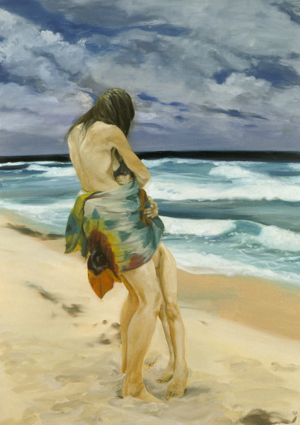 Embraced (By the Sea), 1996. Oil on linen. 74 x 53 in. (188 x 135 cm.)