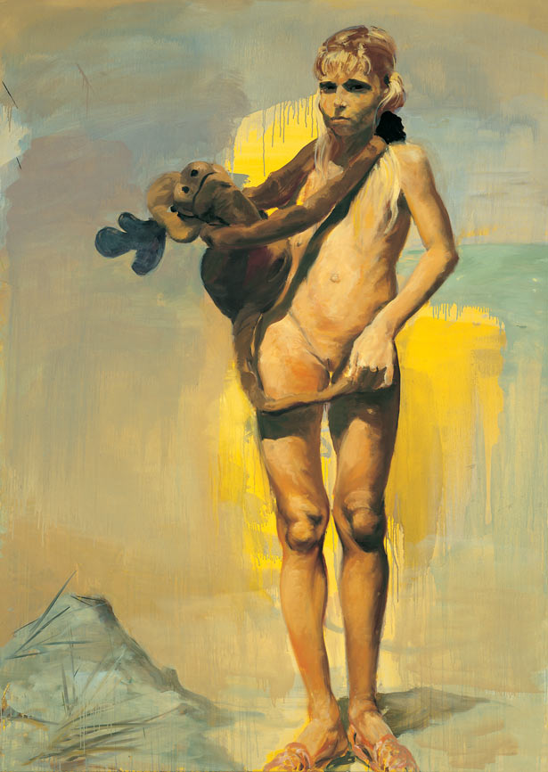 Girl with Doll, 1987. Oil on linen. 70 x 50 in. (178 x 127 cm.)