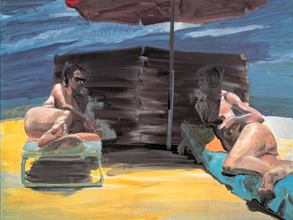 Couple In and Out of the Sun, 1986. Oil on linen. 60 x 80 in. (152 x 203 cm.)