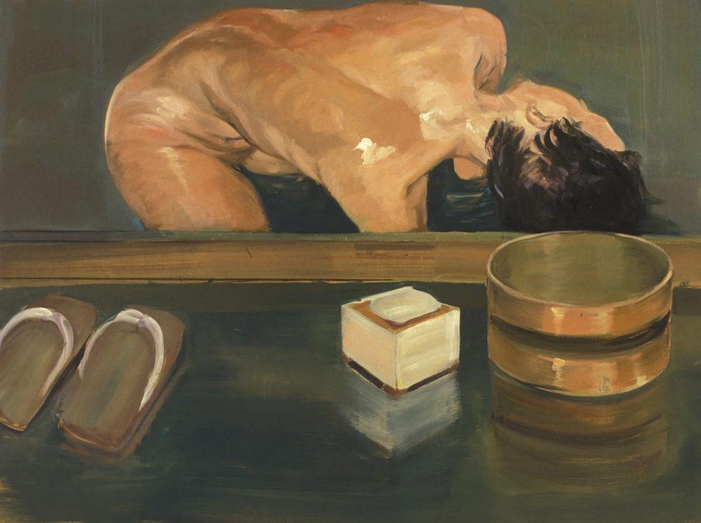 Japanese Bath, 1988. Oil on linen. 45 x 60 in. (114 x 152 cm.)