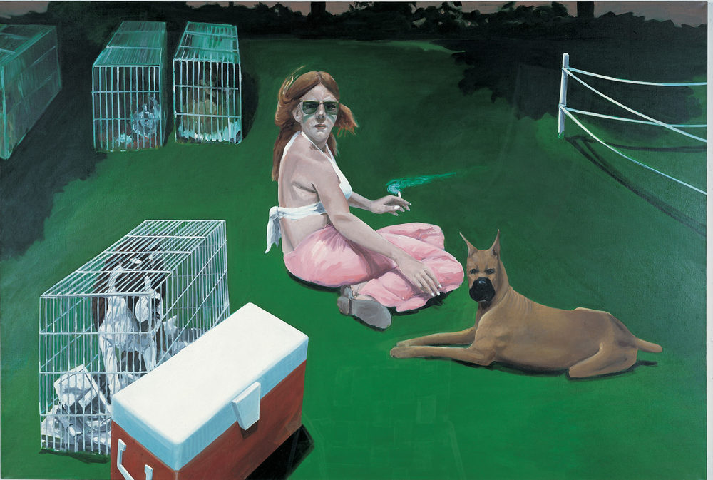 Woman Surrounded by Dogs, 1979. Oil on Canvas. 68 x 106 in. (173 x 269 cm.)