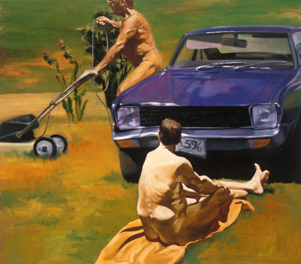 Strange Place to Park, 1992. Oil on linen. 86 x 98 in. (218 x 249 cm.)