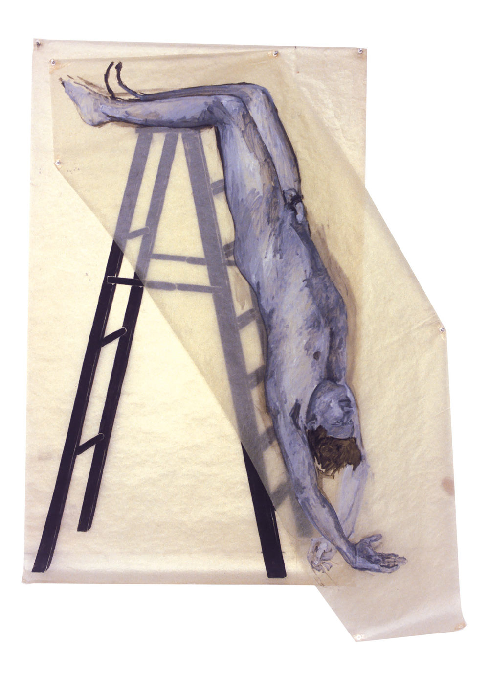 Untitled (Man on Ladder), 1979. Oil on Glassine. 72 x 58 in. (183 x 147 cm.)
