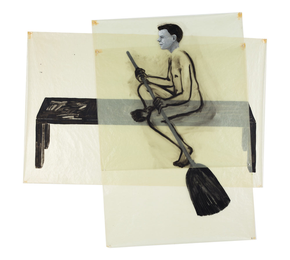 Boy with Broom, 1978. Oil on Glassine. 64 x 66 in. (163 x 168 cm.)