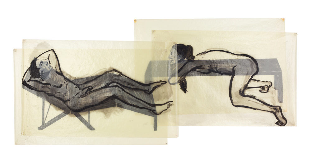 Loungers, 1978. Oil on Glassine. 56 x 124 in. (142 x 315 cm.)