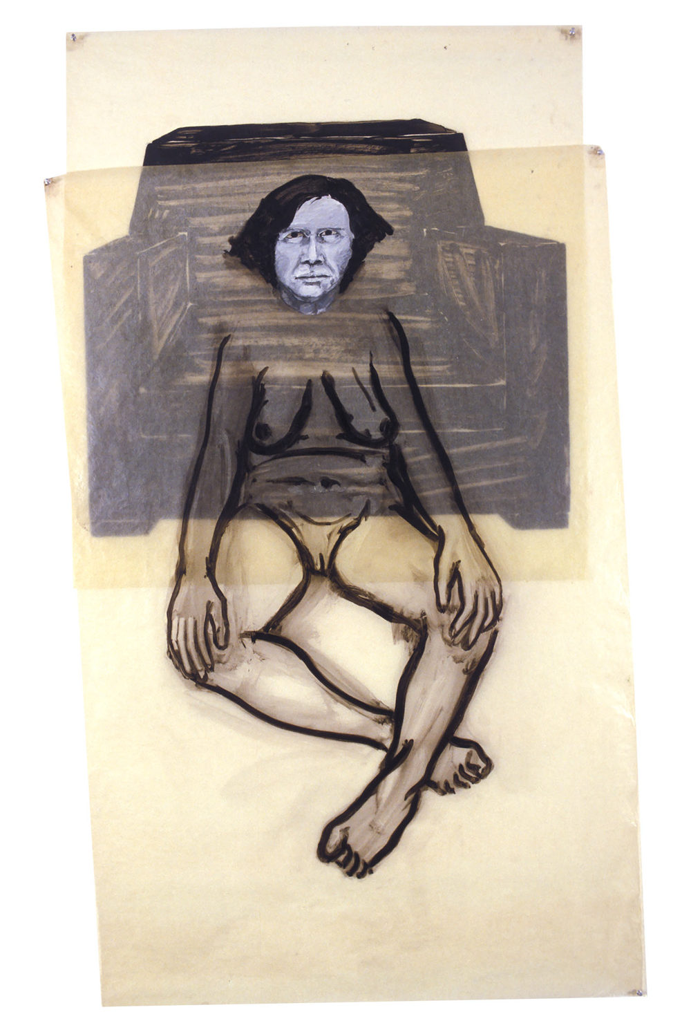 Cross Legged Woman in Front of Chair, 1977. Oil on Glassine. 42 1/2 x 74 in. (108 x 188 cm.)