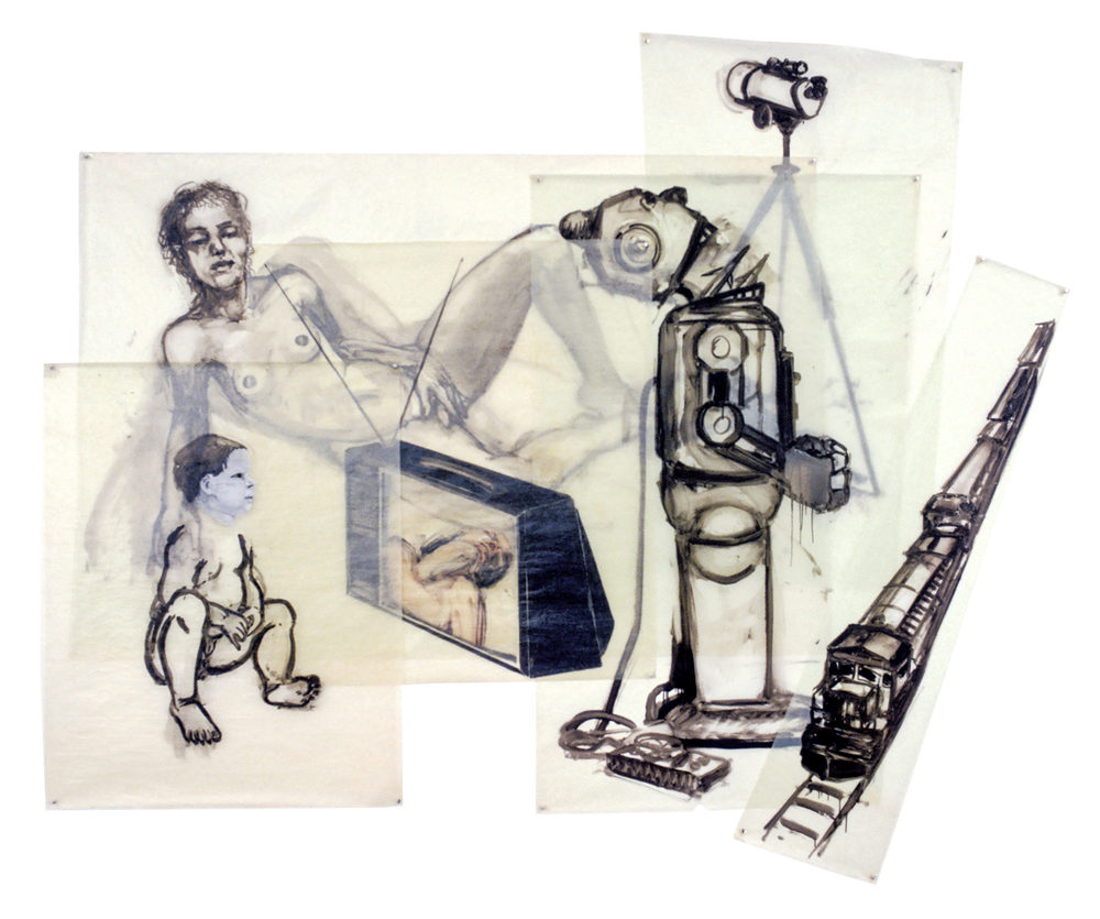 Boys' Toys, 1981. Oil on Glassine. 74 x 92 in. (188 x 234 cm.)