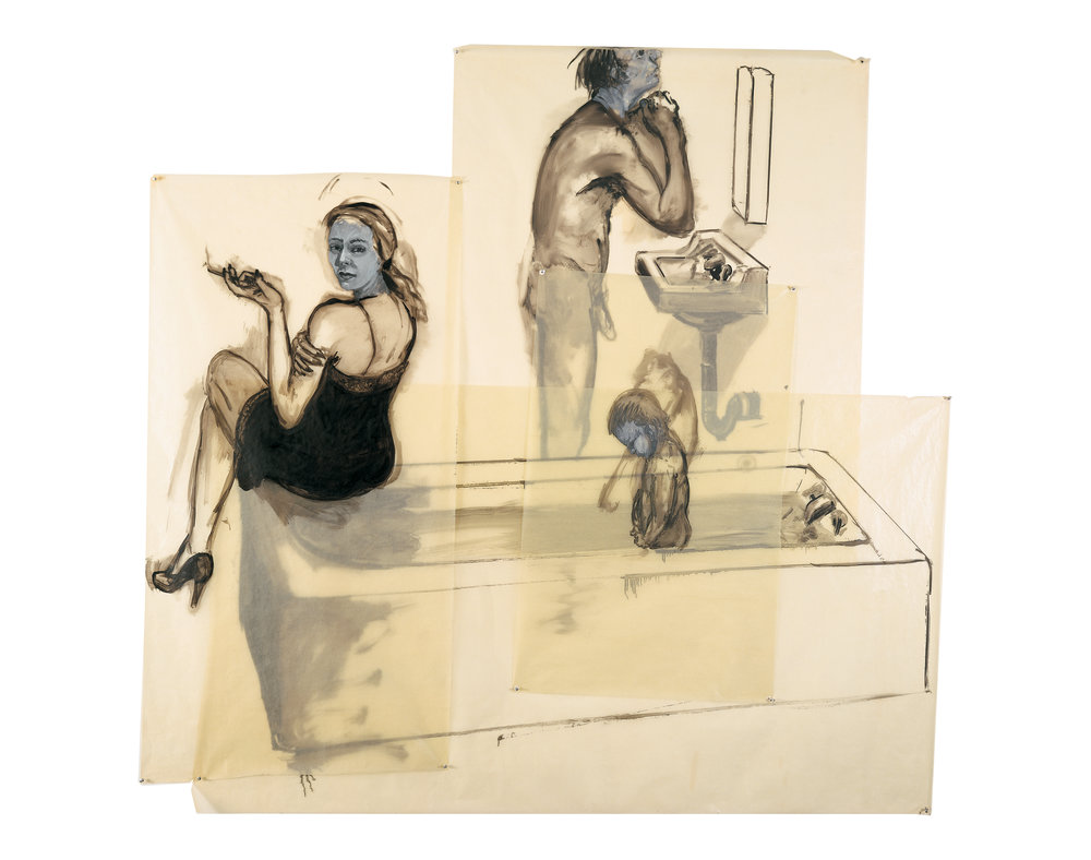 Saturday Night (The Aftermath Bath), 1980. Oil on Glassine. 72 x 84 in. (183 x 213 cm.)
