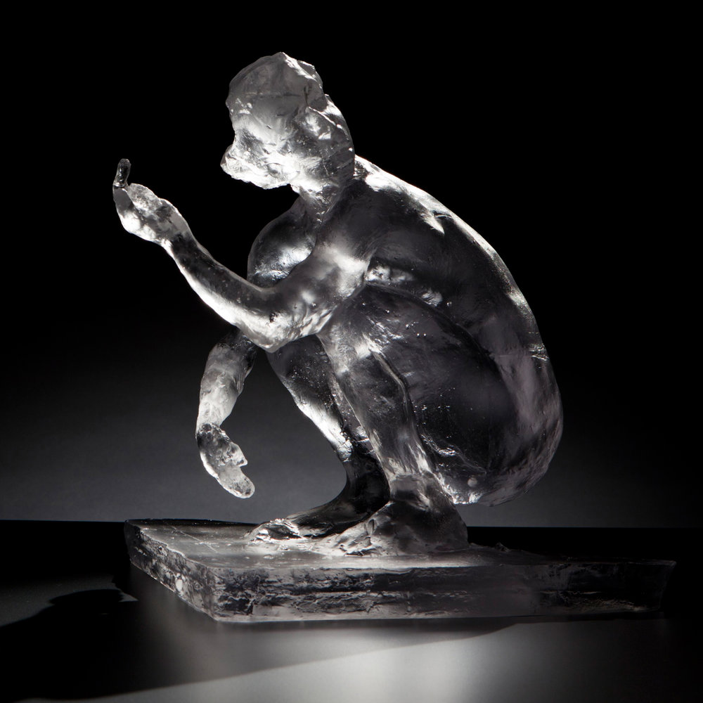 Squatting Woman Hand Up Glass, 2012. Glass 13 5/5 x 10 1/8 x 12  1/2 in.