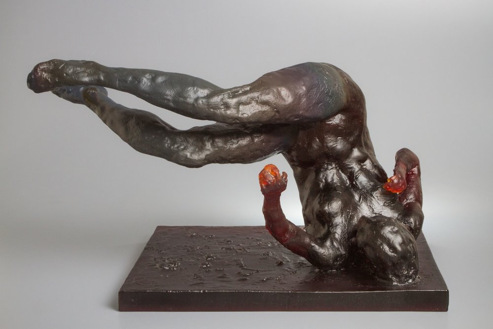 Tumbling Woman Red Glass, 2013. Red Glass 18 x 12 x 14 in.