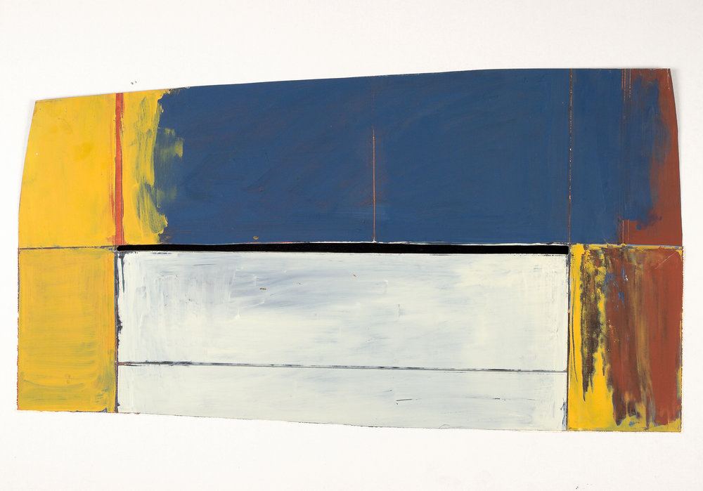 Bridge, 1974, oil and wax on Paper mounted on matboard,  15 1/2 x 30 in.